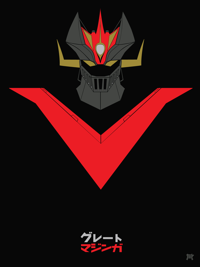 mazinger z in minimalist colors