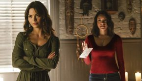 "The Vampire Diaries -- ""Postcards from the Edge"" -- Image Number: TVD712b_0141.jpg -- Pictured (L-R): Scarlett Byrne as Nora and Kat Graham as Bonnie -- Photo: Tina Rowden/The CW -- © 2016 The CW Network, LLC. All rights reserved"