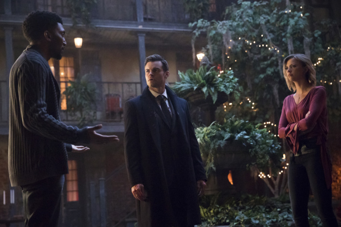 """The Originals -- """"Voodoo Child"""" -- Image Number: OR412a_0213.jpg -- Pictured (L-R): Yusuf Gatewood as Vincent, Daniel Gillies as Elijah and Riley Voelkel as Freya -- Photo: Bob Mahoney/The CW -- © 2017 The CW Network, LLC. All rights reserved."""